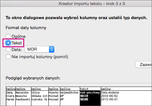Kreator importu tekstu, krok 3