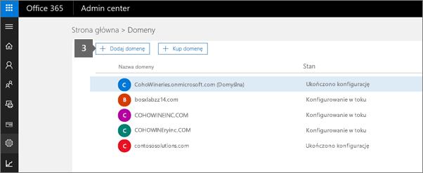 Na stronie Domeny wybierz pozycję Dodaj domenę