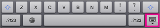 Aby ukryć klawiaturę, naciśnij klawisz klawiatury w prawej dolnej części