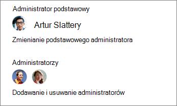 Zmienianie podstawowego Administrator oraz dodawać lub usuwać innych administratorów w okienku szczegółów