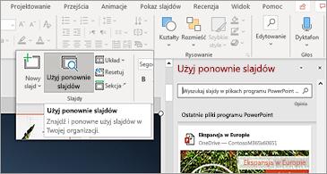 Przycisk Otwórz ponownie slajdy i okienko otwarte w programie PowerPoint