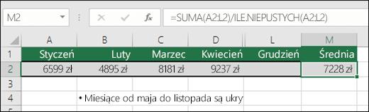 Używanie funkcji SUMA z innymi funkcjami. Formuła w komórce M2 to =SUMA(A2:L2)/ILE.NIEPUSTYCH(A2:L2). Uwaga: kolumny maj–listopad są ukryte w celu zwiększenia przejrzystości.