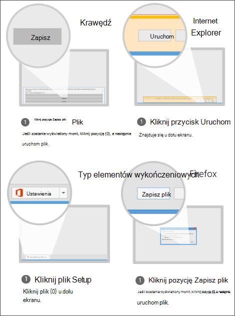 Zrzut ekranu przedstawiający opcje przeglądarki: w programie Internet Explorer kliknij pozycję Uruchom, w programie Chrome kliknij pozycję Ustawienia, w programie Firefox kliknij pozycję Zapisz plik