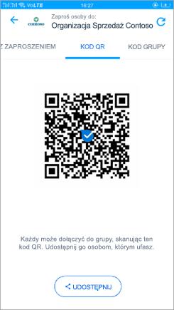 Zrzut ekranu przedstawiający stronę kodową QR w programie aplikacji kaizala