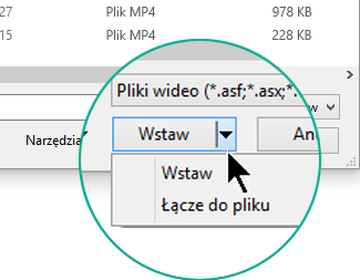 """W oknie dialogowym Wstawianie wideo można wybrać opcję Wstaw (co oznacza """"osadź"""") lub opcję Łącze do pliku."""