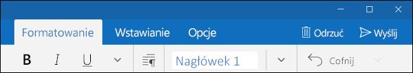 Karta Formatowanie w aplikacji Poczta programu Outlook
