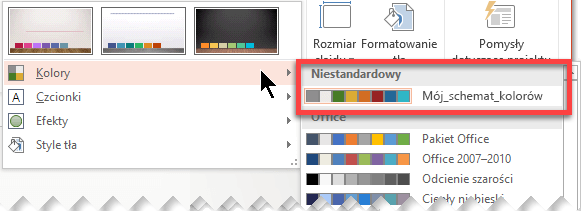 Zdefiniowany niestandardowy schemat kolorów jest wyświetlany w menu rozwijanym Kolory