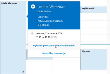 Wyświetlanie karty podróży w aplikacji Kalendarz Outlook