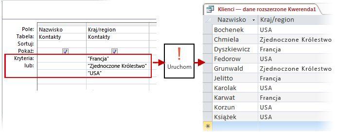 Używanie kryteriów LUB w projektancie oraz wynik