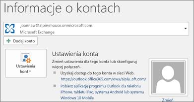 Zrzut ekranu przedstawiający stronę informacji o kontach programu Outlook w widoku Backstage.