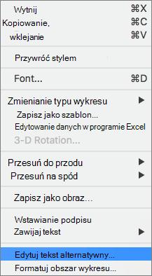 Tekst alternatywny opcję w menu kontekstowym dodawania tekstu alternatywnego do wykresu