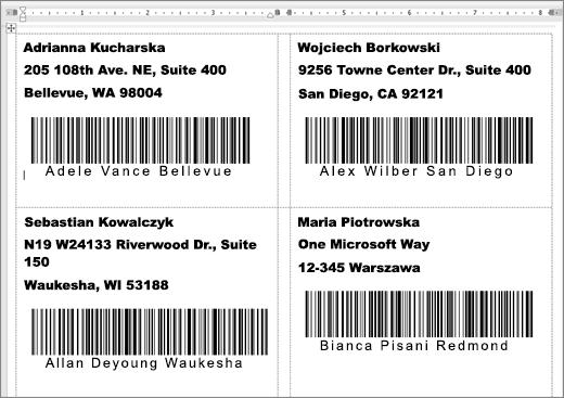 Zrzut kilku etykiet z adresami i kodach kreskowych