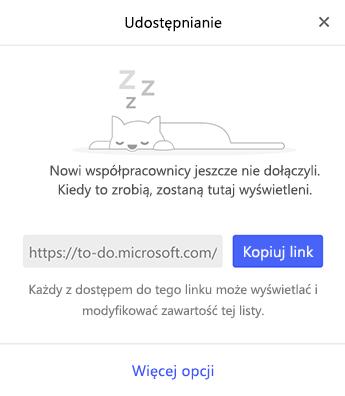 Zrzut ekranu przedstawiający menu udostępniania