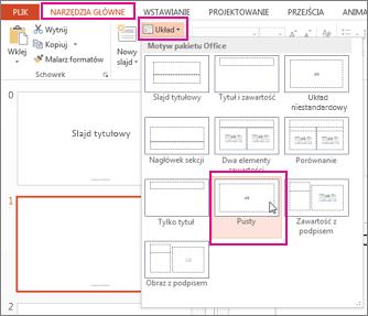Ponowne stosowanie układu zmienionego w widoku wzorca slajdów