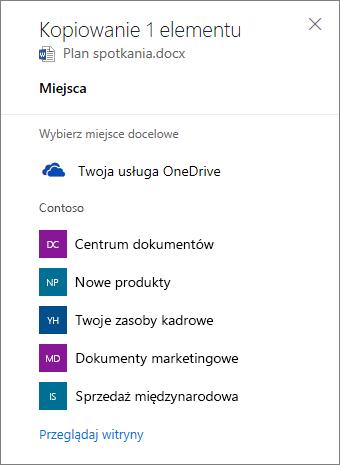 Zrzut ekranu przedstawiający wybieranie miejsca docelowego podczas kopiowania plików z usługi OneDrive dla Firm do witryny programu SharePoint.