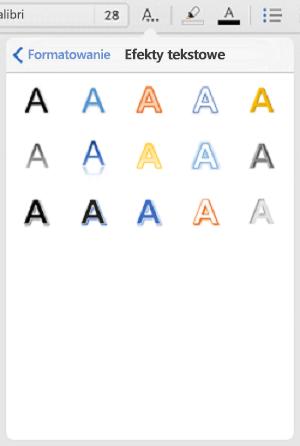 Przycisk Efekty tekstowe na karcie Narzędzia główne