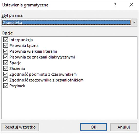 Okno dialogowe Ustawienia gramatyczne