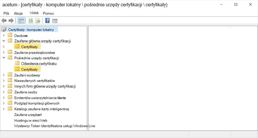 Hierarchia certyfikatów na komputerze lokalnym