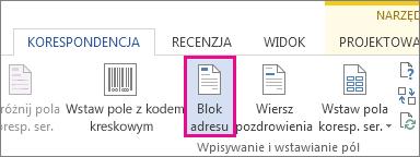 Przycisk Blok adresu