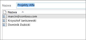 Dwukrotne kliknięcie grupy kontaktów powoduje otwarcie listy jej członków
