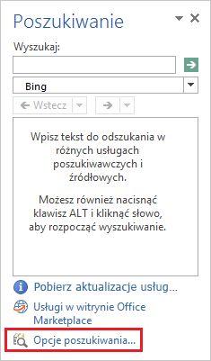 Zrzut ekranu przedstawiający okienko zadań Poszukiwanie z wyróżnionym w jego dolnej części linkiem Opcje poszukiwania