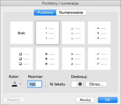 Okno dialogowe Punktory i numeracja w pakiecie Office dla komputerów Mac