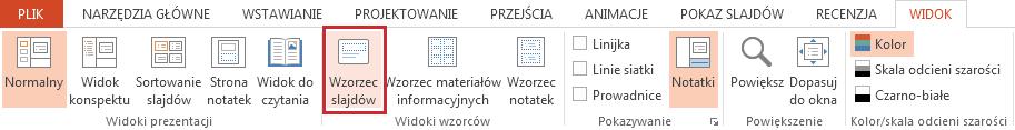 Opcja Wzorzec slajdów znajduje się na karcie Widok.