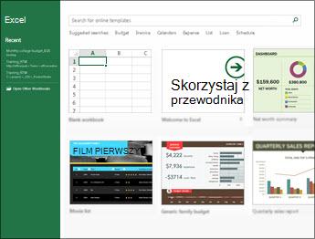 Niektóre szablony dostępne w programie Excel