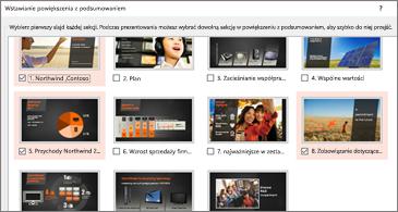 Widok podsumowania wszystkich slajdów w prezentacji. Wybrane są 3.