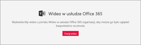 Składnik web part wideo usługi Office 365
