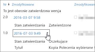 Przycisk okna dialogowego rozwijane wersji