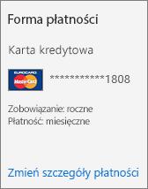 Sekcja Forma płatności na karcie Subskrypcja dla subskrypcji opłacanej kartą kredytową.