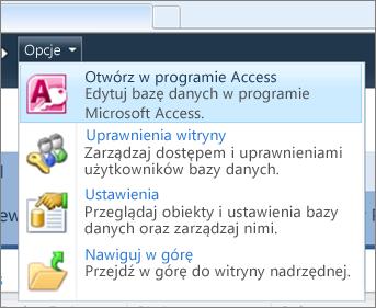 Menu Opcje bazy danych sieci Web w witrynie SharePoint