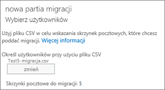 Nowa partia migracji z plikiem CSV
