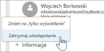 Zrzut ekranu przedstawiający wybieranie uprawnień określonej osoby i zatrzymanie udostępniania