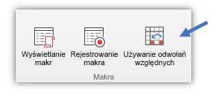 """zrzut ekranu przedstawiający przycisk """"Użyj odwołań względnych"""""""