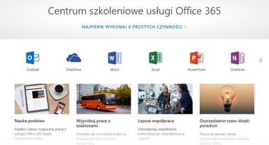 Strona główna Centrum szkoleniowego pakietu Office z ikonami różnych aplikacji pakietu Office i kafelkami dostępnych typów zawartości
