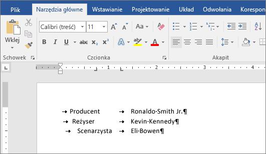 Przykładowy tekst wyrównany do pozycji tabulatorów na linijce