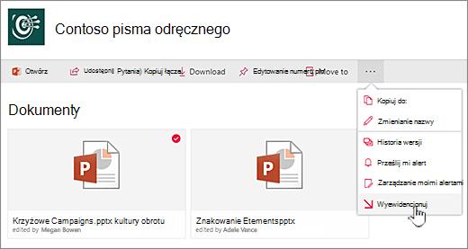 Wybierz plik, kliknij wielokropek na pasku UEK, a następnie wybierz pozycję Wyewidencjonowywanie.