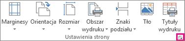 Przycisk Uruchom okno dialogowe w grupie Ustawienia strony