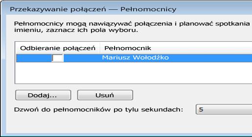 Zrzut ekranu: dodawanie pełnomocnika w programie Lync