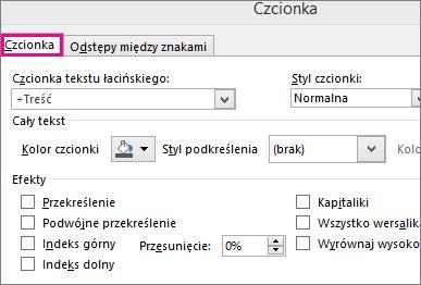 Okno dialogowe Czcionka w programie Excel