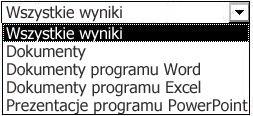 Opcje dotyczące wyników, w tym Wszystkie wyniki, Dokumenty, Dokumenty programu Word, Dokumenty programu Excel i Prezentacje programu PowerPoint