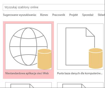 Przycisk Niestandardowa aplikacja sieci Web na ekranie startowym.