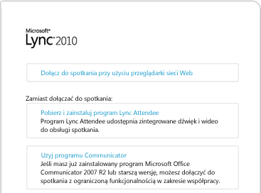 Obraz okna przeglądarki programu Lync