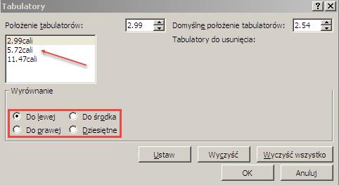 Okno dialogowe Tabulatory.