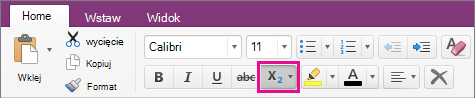 Kliknij przycisk indeksu dolnego i górnego, aby wprowadzić opcję