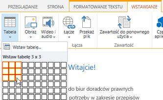 Wstawianie tabeli do publicznej witryny sieci Web w usłudze SharePoint Online