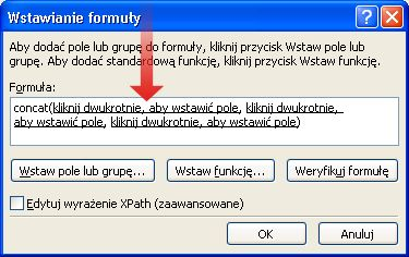 Dwukrotne kliknięcie w celu wstawienia pierwszego pola, które ma zostać użyte jako część nazwy formularza