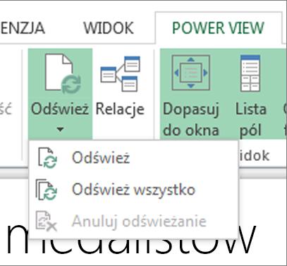 Przycisk Odśwież w programie Power View